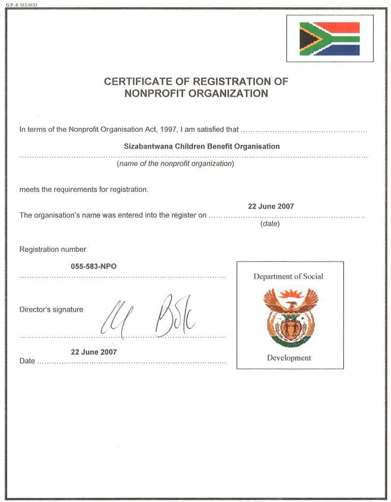 Certificate Of Non Profit Organisation Sizabantwanas Weblog